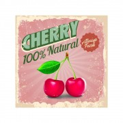 Placa Decorativa Cherry Natural Cartaz Retro 30x30cm