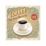 Placa Decorativa Coffee Best Morning Cartaz Retro 30x30cm