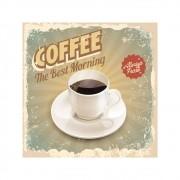 Placa Decorativa Coffee Best Morning Cartaz Retro 30x30cm