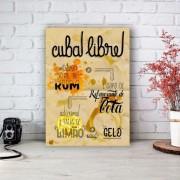 Placa Decorativa Como Fazer uma Cuba Libre