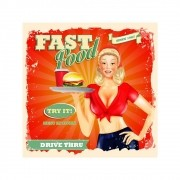 Placa Decorativa Fast Food Cartaz Retro 30x30cm