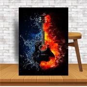 Placa Decorativa Guitarra Fusão Fogo e Água