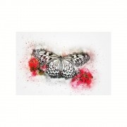 Placa Decorativa MDF Borboleta Preta Abstrato
