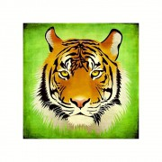 Placa Decorativa MDF Tigre Esotérico Fundo Verde