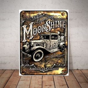Placa Decorativa Old Moonshine Car