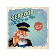 Placa Decorativa Seafood fresh Fish Cartaz Retro 30x30cm