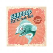 Placa Decorativa Seafood Truta Fresh Cartaz Retro 30x30cm