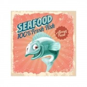 Placa Decorativa Seafood Truta Fresh Cartaz Retro 30x30cm
