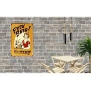 Placa Decorativa Vintage Bar Free Beer Tomorrou