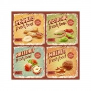 Placa Decorativa Vintage Fresh Food Cartaz Retro 30x30cm
