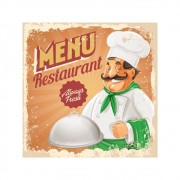 Placa Decorativa Vintage Menu Restaurant Cartaz Retro 30x30cm