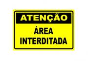 Placa PVC Atenção Área Interditada 23x18cm Segurança