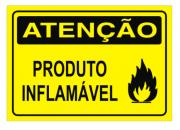 Placa PVC Atenção Produto Inflamável 18x23cm amarelo