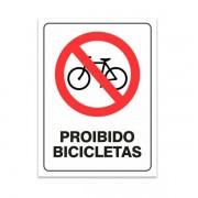 Placa PVC Atenção Proibido Bicicleta 18x23cm