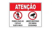 Placa PVC Atenção Proibido Jogar Lixo Ambiente Filmado