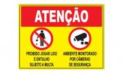 Placa PVC Atenção Proibido Jogar Lixo Ambiente Filmado Amarela