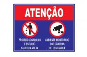 Placa PVC Atenção Proibido Jogar Lixo Ambiente Filmado Azul