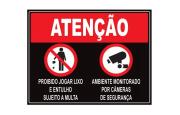 Placa PVC Atenção Proibido Jogar Lixo Ambiente Filmado Preta