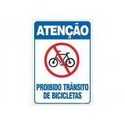 Placa PVC Atenção Proibido Transito de Bicicleta