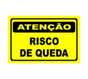 Placa PVC Atenção Risco de Queda 23x18cm