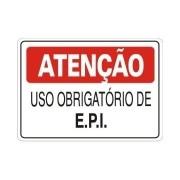 Placa PVC Atenção Uso Obrigatório de E.P.I