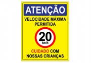 Placa PVC Atenção Velocidade Máxima 20km Cuidado Crianças Am