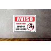 Placa PVC Aviso Água de Reuso Imprópria para Consumo