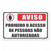 Placa PVC Aviso Proibido Acesso de Pessoas
