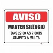 Placa PVC Condomínio Aviso Manter Silencio após 22h
