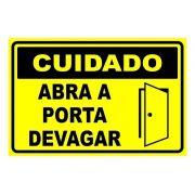Placa PVC Cuidado Abra a Porta Devagar 18x23cm Amarela