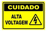 Placa PVC Cuidado Alta Voltagem 23x18cm Segurança