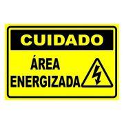 Placa PVC Cuidado Área Energizada 23x18cm Segurança