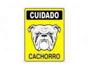 Placa PVC Cuidado Cachorro 23x18cm Amarelo