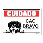 Placa PVC Cuidado Cão Bravo