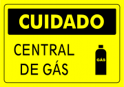 Placa PVC Cuidado Central de Gás 23x18cm Amarelo