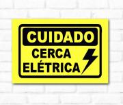 Placa PVC Cuidado Cerca Elétrica 18x23cm amarela