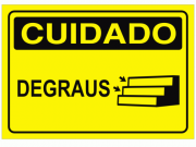 Placa PVC Cuidado Degraus 18x23cm Amarelo
