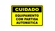 Placa PVC Cuidado Equipamento com Partida Automatica
