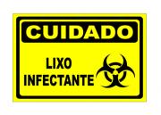 Placa PVC Cuidado Lixo Infectante 18x23cm Amarelo