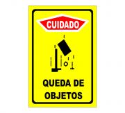 Placa PVC Cuidado Queda de Objetos 18x23cm Amarelo