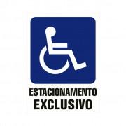 Placa PVC Estacionamento Exclusivo Cadeirante 18x23cm