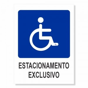 Placa PVC Estacionamento Exclusivo Cadeirante 18x23cm