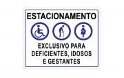 Placa PVC Estacionamento Exclusivo Deficientes Idosos Gestantes