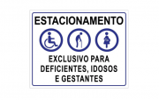 Placa PVC Estacionamento Exclusivo Deficientes Idosos Gestantes