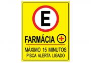 Placa PVC Estacionamento Farmácia Maximo 15 Minutos Amarela