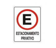 Placa PVC Estacionamento Privativo 23x18cm Branca