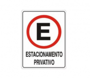 Placa PVC Estacionamento Privativo 23x18cm Branca