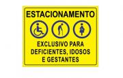 Placa PVC Exclusivo Deficientes Idosos Gestantes Amarela