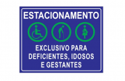Placa PVC Exclusivo Deficientes Idosos Gestantes Azul