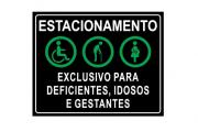 Placa PVC Exclusivo Deficientes Idosos Gestantes Preta